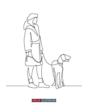 Continuous line drawing of girl walking a dog. Template for your design works. Vector illustration. Vektoros illusztráció