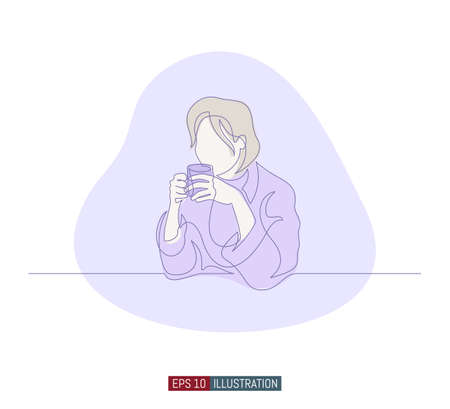 Continuous line drawing of girl with cup of coffee. Template for your design works. Vector illustration. 向量圖像