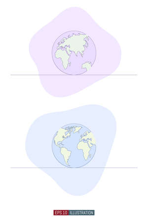 Continuous line drawing of globe. Template for your design. Vector illustration.
