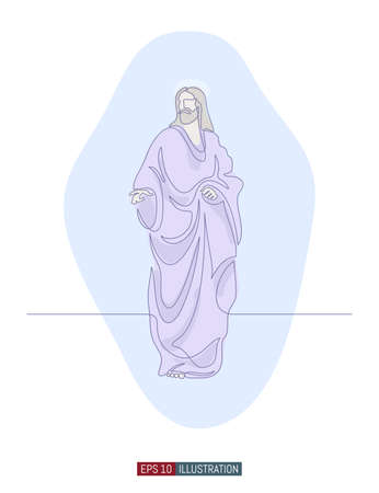 Continuous line drawing of Jesus Christ. Template for your design works. Vector illustration.