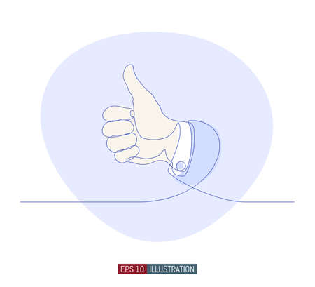 Continuous line drawing of hand whith thumb up gestures. Template for your design works. Vector illustration. Çizim