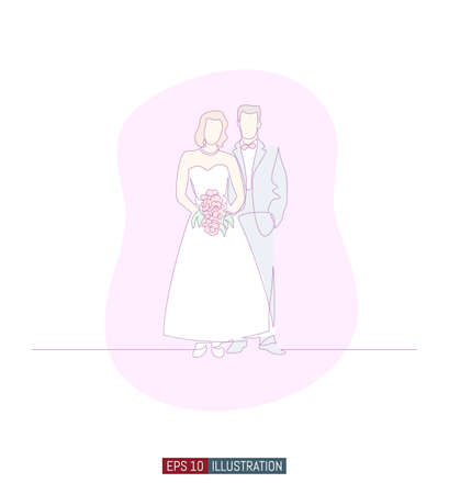 Continuous line drawing of bride and groom with bridal bouquet at wedding ceremony. Template for your design works. Vector illustration.