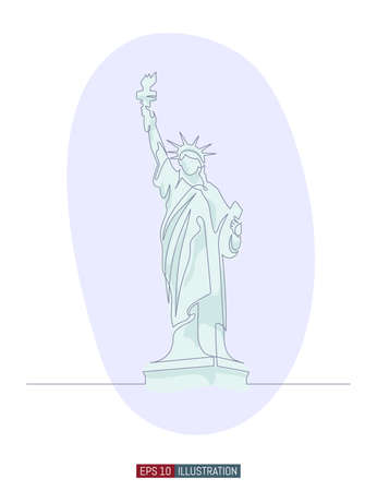 Continuous line drawing of Statue of Liberty. Template for your design works. Vector illustration.