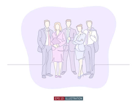 Continuous line drawing of business people group. Template for your design works. Vector illustration. Ilustrace