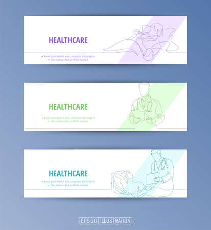 Set of banners. Continuous line drawing of healthcare symbols, doctor, patient, hospital. Editable masks. Template for your design works. Vector illustration.