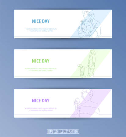 Set of banners. Continuous line drawing of girl walking a dog, girl with cup of coffee, girl with wine glass. Editable masks. Template for your design works. Vector illustration.
