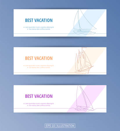 Set of banners. Continuous line drawing of yachts. Editable masks. Template for your design works. Vector illustration.