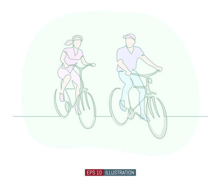 Continuous line drawing of man and woman riding bicycles. Template for your design works. Vector illustration. Çizim
