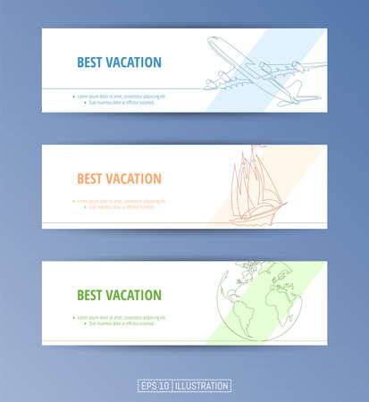 Set of banners. Continuous line drawing of jet plane, yacht, globe. Editable masks. Template for your design works. Vector illustration.