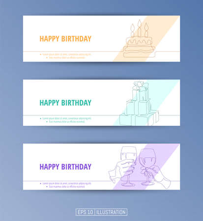 Set of banners. Continuous line drawing of birthday party symbols. Editable masks. Template for your design works. Vector illustration.
