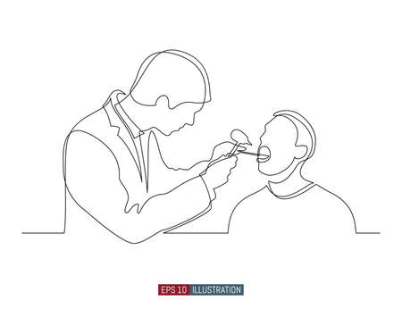 Continuous line drawing of doctor and patient. Hospital scene. Template for your design works. Vector illustration.