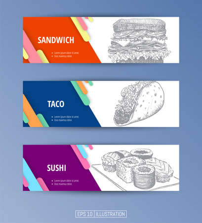 Set of banners. Hand drawn fast food. Sandwich. Taco. Sushi. Engraved style. Editable masks. Template for your design works. Vector illustration. Ilustrace