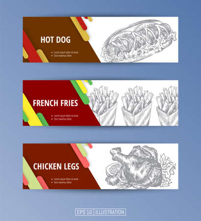 Set of banners. Hand drawn fast food. Hot dog. French fries. Chicken legs. Engraved style. Editable masks. Template for your design works. Vector illustration. Ilustrace