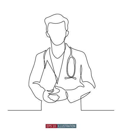 Continuous line drawing of doctors silhouette. Hospital scene. Template for your design works. Vector illustration.