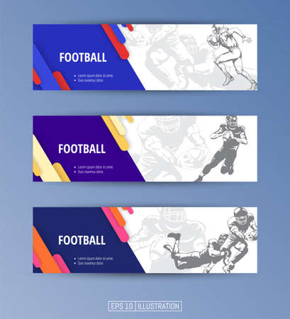 Set of banners. Football players silhouettes. Editable masks. Template for your design works. Vector illustration.