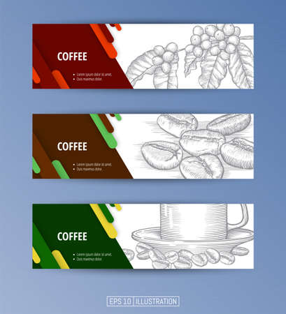 Set of banners. Hand drawn coffee set. Branch, leaves and berries. Coffee beans. Engraved style vector illustration. Coffe cup. Editable masks. Template for your design works. Vector illustration. Ilustrace