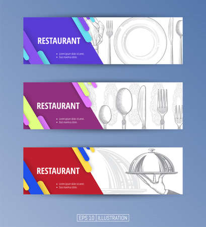 Set of banners. Hand drawn plate, napkin, fork and knife. Hand drawn hand holding tray for hot dishes. Engraved style. Editable masks. Template for your design works. Vector illustration.