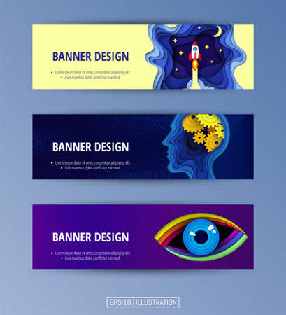 Set of banners. Trendy abstract backgrounds. Modern geometric gradients. Paper cut art. Template for your design works. Vector illustration.