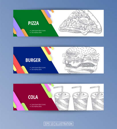 Set of banners. Hand drawn fast food. Pizza. Burger. Cola. Engraved style. Editable masks. Template for your design works. Vector illustration. Ilustrace