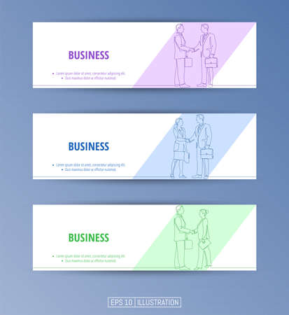 Set of banners. Continuous line drawing of businessmens handshake. Editable masks. Template for your design works. Vector illustration. Ilustrace