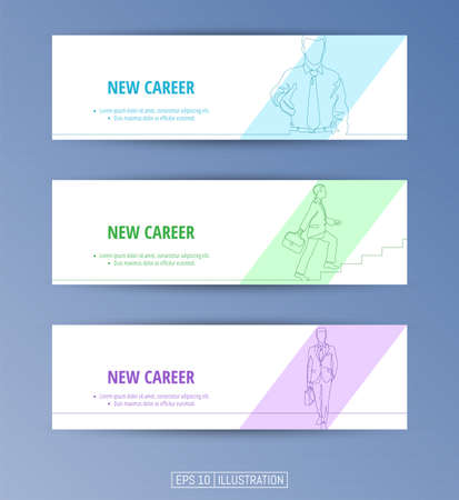 Set of banners. Continuous line drawing of business and career symbols. Editable masks. Template for your design works. Vector illustration. Ilustrace