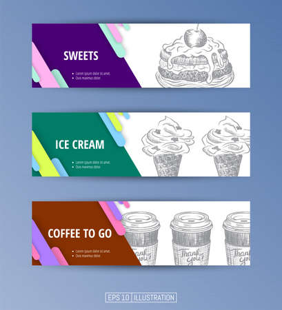 Set of banners. Hand drawn fast food. Sweets. Ice cream. Coffee to go. Engraved style. Editable masks. Template for your design works. Vector illustration. Ilustrace