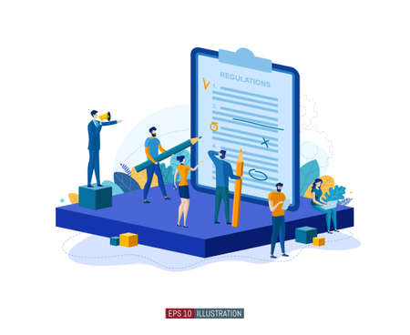 Trendy flat illustration. Teamwork concept. People compose and edit regulations. Planning. Business strategy. Organization. Cooperation. Template for your design works. Vector graphics. Ilustrace