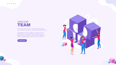 Trendy flat illustration. People make up puzzles. Successful teamwork page concept. Cooperation of people who implement the joint idea. Template for your design works. Vector graphics.
