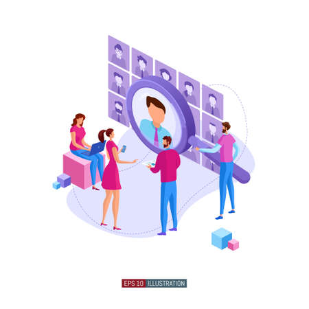 Trendy flat illustration. Businessmen are looking for an employee. Open vacancy. Hiring staff. Discussion of the applicant. Interview Human resources. Template for your design works. Vector graphics.