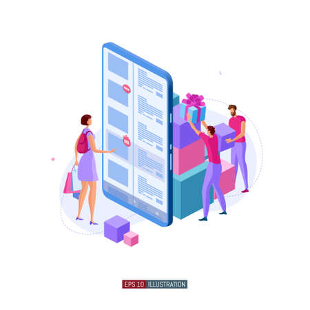 Trendy flat illustration. Girl makes purchases in the online store. Online shopping illustration concept. Mobile shopping. Store team. Globalization. Template for your design works. Vector graphics.