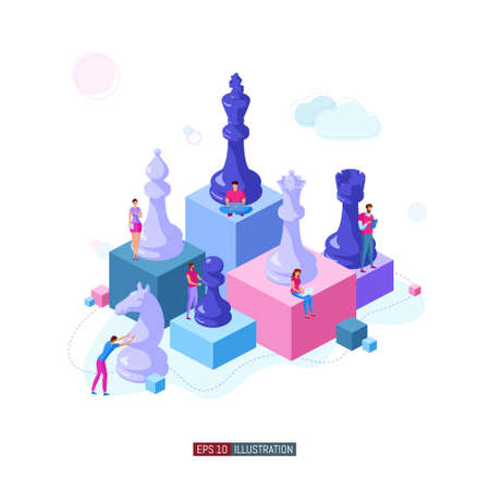 Trendy isometric illustration. People work. Business strategy. Teamwork and competition. Chess game. Chess pieces. Template for your design works. Vector graphics.