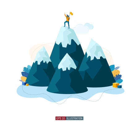 Trendy flat illustration. Winner man on mountain peak. Victory symbol. Competition. Goal achievement. Template for your design works. Vector graphics.