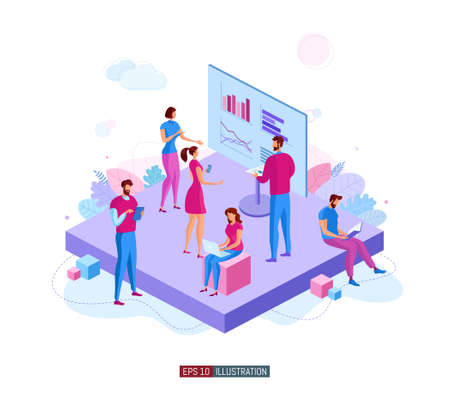 Trendy flat illustration. Office workers planing business mechanism, analyze business strategy and exchange ideas. Brief. Presentation. Training. Template for your design works. Vector graphics.
