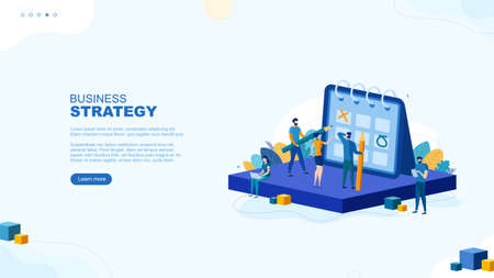Trendy flat illustration. Business strategy page concept. People play tic-tac-toe. Planning. Organization. Cooperation. Teamwork. Template for your design works. Vector graphics.