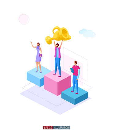 Trendy flat illustration. Winners on the podium. Best team ever concept. Goal achievement. Golden cup. Successful teamwork. Template for your design works. Vector graphics.