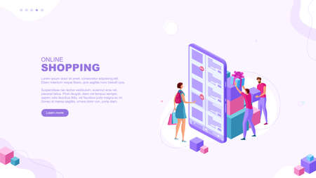Trendy flat illustration. Online shopping page concept. Mobile shopping. Store team. Globalization. Gift for purchase. Cash back. Bonus. Template for your design works. Vector graphics.