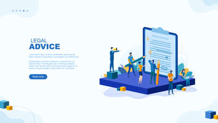 Trendy flat illustration. Legal advice page concept. Legal support. Consultation. The layer's services. Legislation. Documentation. Template for your design works. Vector graphics. Ilustrace