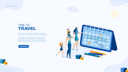 Trendy flat illustration. Time to travel page concept. The family is planning a vacation. Relaxation. Recreation. Father, mother, daughter and son. Template for your design works. Vector graphics.