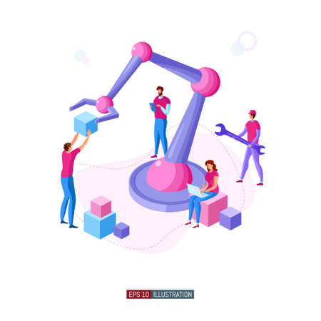 Trendy flat illustration. People are working on the creation and implementation of a robotic system. Robotization. Automation. Technology. Template for your design works. Vector graphics.