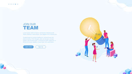 Trendy flat illustration. Join our team page concept. Cooperation of people who implement the joint idea. Illustration of the idea birth process. Template for your design works. Vector graphics.