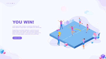 Trendy flat illustration. You win page concept. Victory. Goal achievment. Challenge. Cup reward. Prize. Marathon. Template for your design works. Vector graphics. Ilustrace