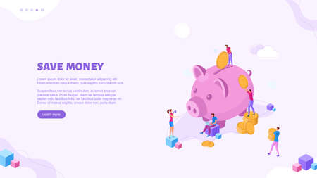Trendy flat illustration. Banking service page concept. Deposit. Piggy bank. Bank team. Bank operations. Money saving. Coins. Template for your design works. Vector graphics. Ilustrace