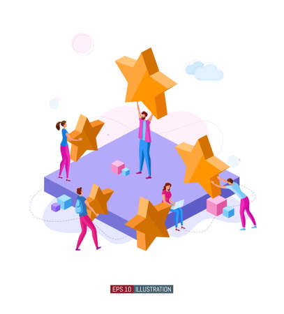 Trendy flat illustration. Customer reviews rating concept. Online shopping. Feedback Customer support. Template for your design works. Vector graphics. Ilustrace