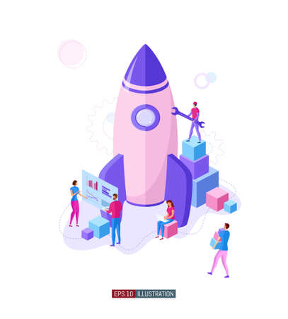 Trendy flat illustration. Business startup concept. Cooperation of people who implement the joint idea. Rocket launch preparation. Template for your design works. Vector graphics. Ilustrace