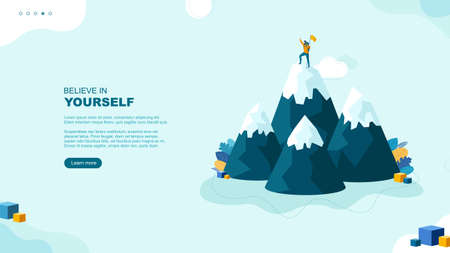 Trendy flat illustration. Believe in yourself page concept. Winner man on mountain peak. Victory symbol. Competition. Goal achievement. Template for your design works. Vector graphics.