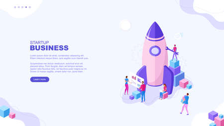 Trendy flat illustration. Startup business page concept. Cooperation of people who implement the joint idea. Rocket launch preparation. Template for your design works. Vector graphics.