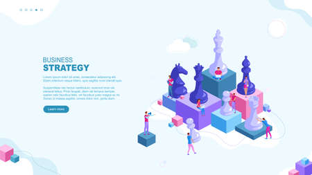 Trendy flat illustration. Business strategy page concept. Teamwork and competition. Chess game. Chess pieces. Template for your design works. Vector graphics.