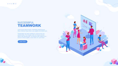 Trendy flat illustration. Successful teamwork page concept. Office workers planing business mechanism, analyze business strategy and exchange ideas. Template for your design works. Vector graphics.