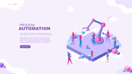 Trendy flat illustration. Process Automation page concept. Robotization. Digitalization. Template for your design works. Vector graphics.