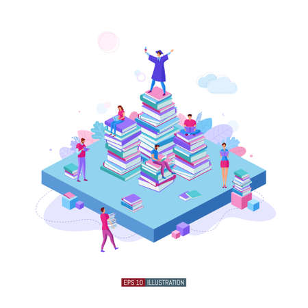 Trendy flat illustration. Teamwork metaphor concept. People read books and collaborate. Learning. Education. Knowledge. Ð¡ollege graduate. Template for your design works. Vector graphics. Ilustrace